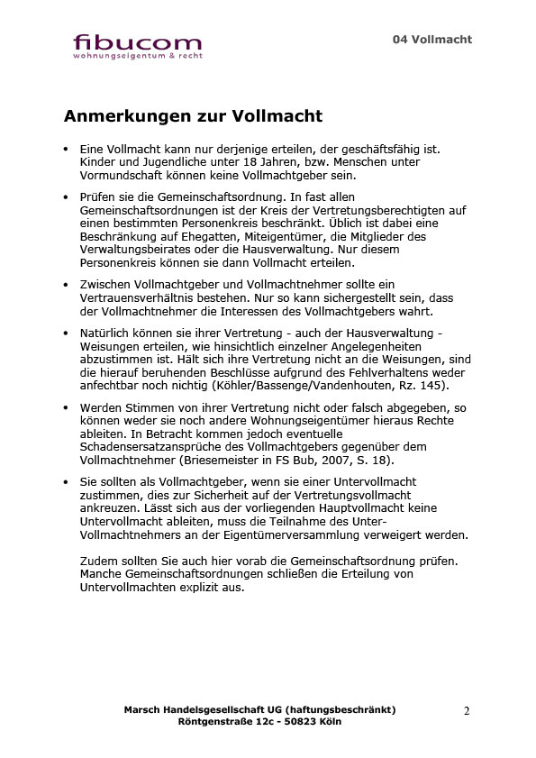 04 vollmacht 2 zur eigentmversammlung - Protokoll Eigentumerversammlung Muster